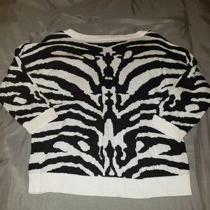 Express 3/4 sleeve cropped Zebra print sweater EUC